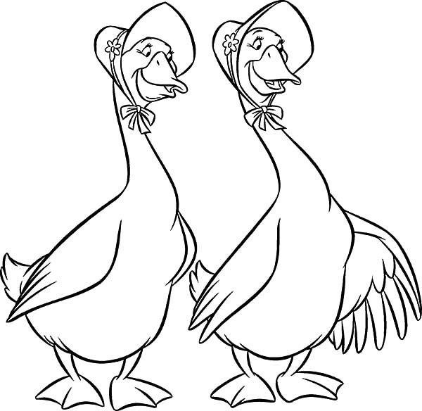 Aristocats, : The Aristocats Characters Abigail and Amelia Gabble Coloring Pages