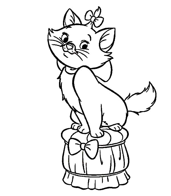 Aristocats, : The Aristocats Marie Standing on Chair Coloring Pages
