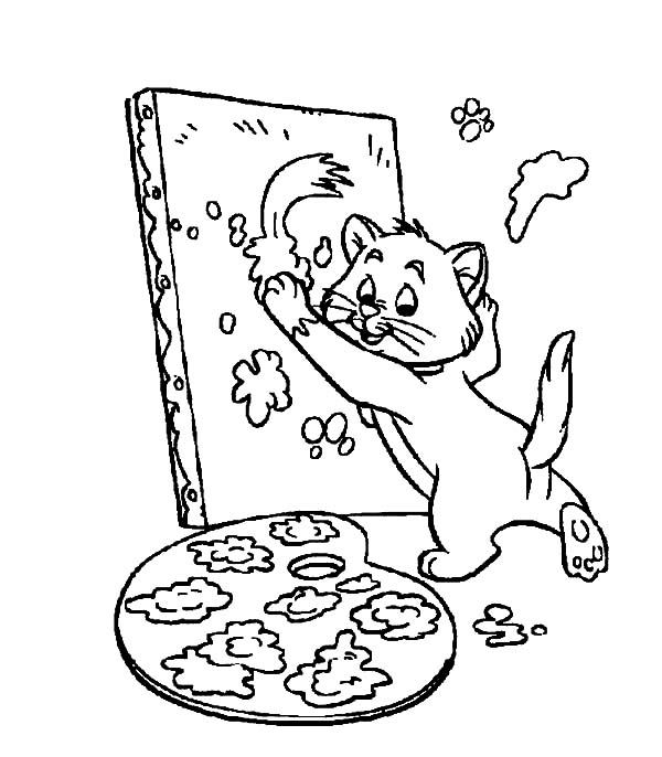 Aristocats, : The Aristocats Toulouse Learn to Paint Coloring Pages