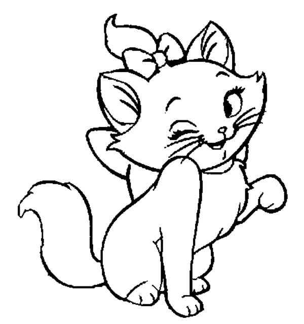 Aristocats, : The Aristocats Winking Her Eye Coloring Pages