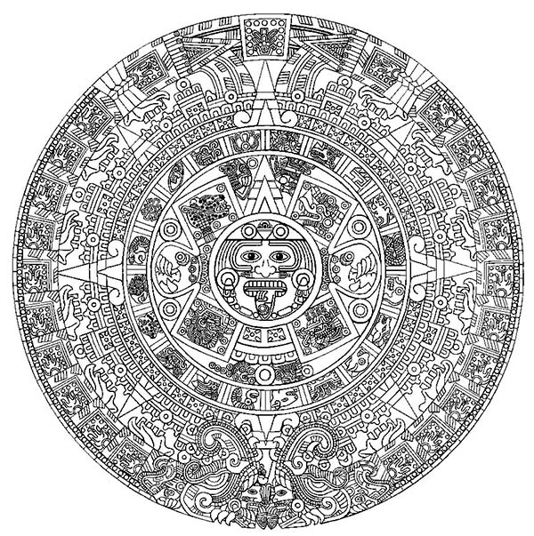 Aztec, : The Aztec Sun Stone Coloring Pages