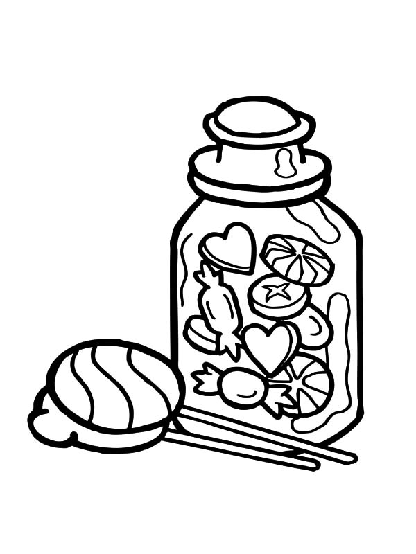 Jar, : The Sweets in the Jar Coloring Pages