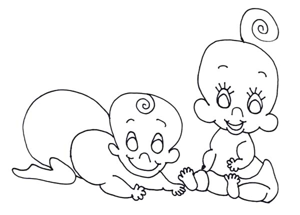 Babies, : Twin Babies Coloring Pages