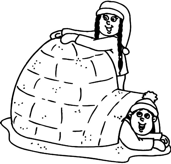 Igloo, : Two Kids Making Their Own Igloo Coloring Pages