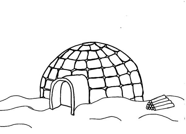 Igloo, : Winter Igloo Coloring Pages